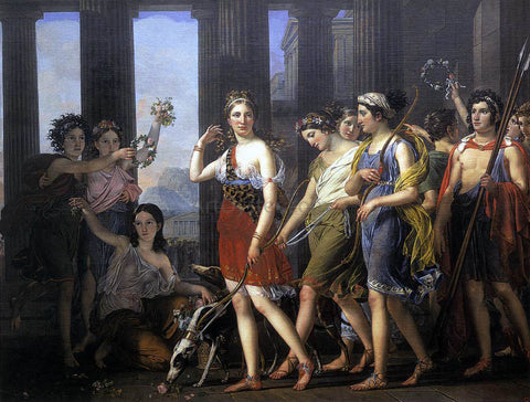 Joseph Paelinck The Fair Anthia Leading her Companions to the Temple of Diana in Ephesus - Hand Painted Oil Painting