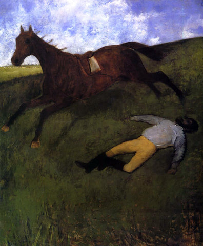 Edgar Degas The Fallen Jockey (also known as Fallen Jockey) - Hand Painted Oil Painting