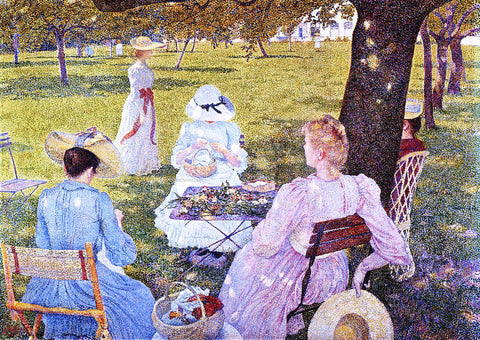 Theo Van Rysselberghe A Family in an Orchard - Hand Painted Oil Painting