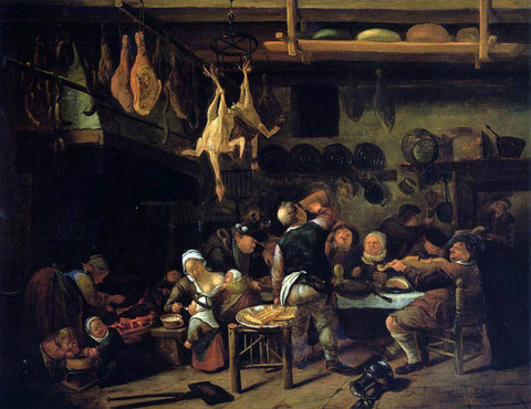 Jan Steen The Fat Kitchen - Hand Painted Oil Painting