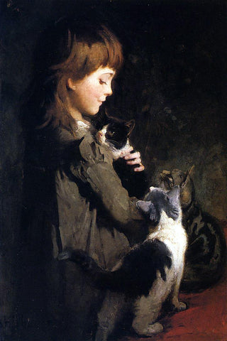 Abbott Handerson Thayer The Favorite Kitten - Hand Painted Oil Painting