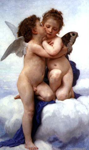William Adolphe Bouguereau A First Kiss - Hand Painted Oil Painting