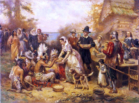 Jean-Leon Gerome Ferris The First Thanksgiving, 1621 - Hand Painted Oil Painting