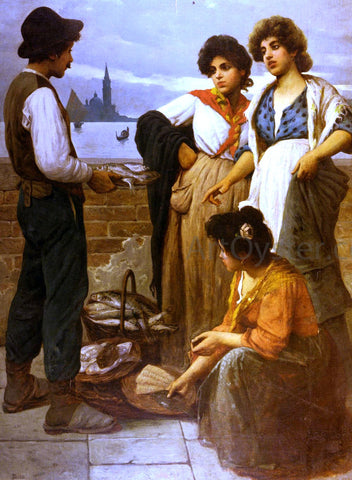 Luigi Pastega The Fish Seller - Hand Painted Oil Painting