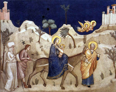 Giotto Di Bondone The Flight into Egypt (North Transept, Lower Church, San Francesco, Assisi) - Hand Painted Oil Painting