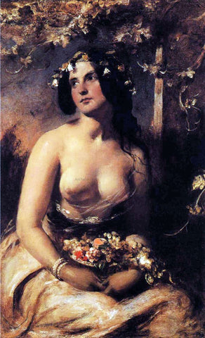 William Etty The Flower Girl - Hand Painted Oil Painting