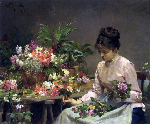 Victor Gabriel Gilbert The Flower Seller - Hand Painted Oil Painting