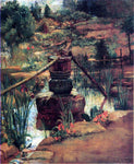 John La Farge The Fountain in Our Garden at Nikko - Hand Painted Oil Painting