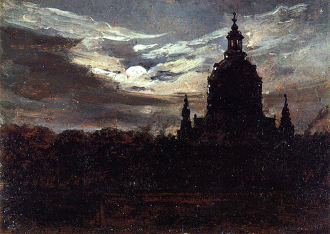 Johan Christian Claussen Dahl The Frankenkirche, Dresden - Hand Painted Oil Painting
