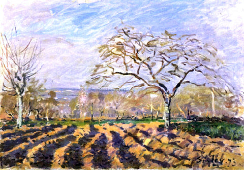 Alfred Sisley The Furrows - Hand Painted Oil Painting