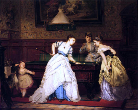 Charles Edouard Boutibonne The Game of Billiards - Hand Painted Oil Painting
