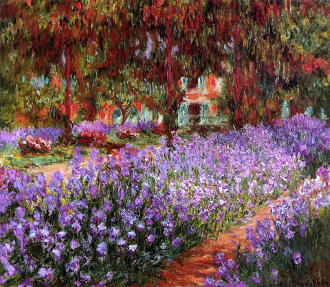 Claude Oscar Monet A Garden (also known as Irises) - Hand Painted Oil Painting