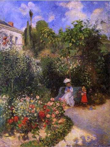 Camille Pissarro A Garden at Pontoise - Hand Painted Oil Painting