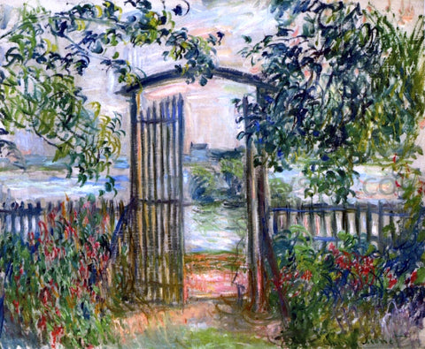 Claude Oscar Monet A Garden Gate at Vetheuil - Hand Painted Oil Painting