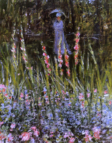 Claude Oscar Monet The Garden, Gladioli - Hand Painted Oil Painting