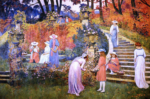 Theo Van Rysselberghe The Garden of Felicien Rops at Essone - Hand Painted Oil Painting