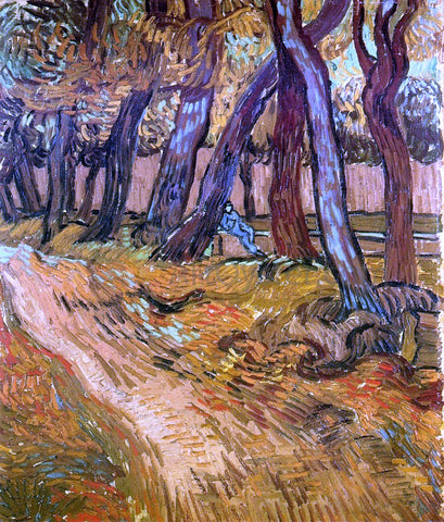 Vincent Van Gogh The Garden of Saint-Paul Hospital with Figure - Hand Painted Oil Painting