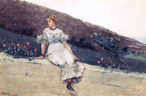 Winslow Homer A Garden Wall (also known as Girl on a Garden Wall) - Hand Painted Oil Painting