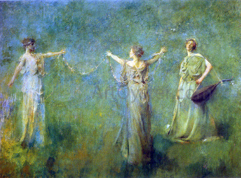 Thomas Wilmer Dewing The Garland - Hand Painted Oil Painting