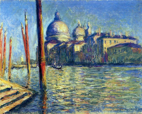 Claude Oscar Monet At the Grand Canal and Santa Maria della Salute - Hand Painted Oil Painting