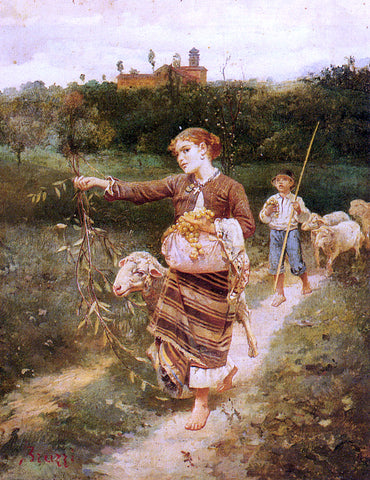 Stefano Bruzzi The Grape Pickers - Hand Painted Oil Painting