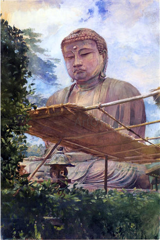 John La Farge The Great Statue of Amida Buddha at Kamakura, Known as the Diabutsu, from the Priest's Garden - Hand Painted Oil Painting
