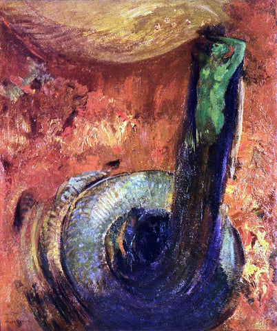 Odilon Redon The Green Death - Hand Painted Oil Painting