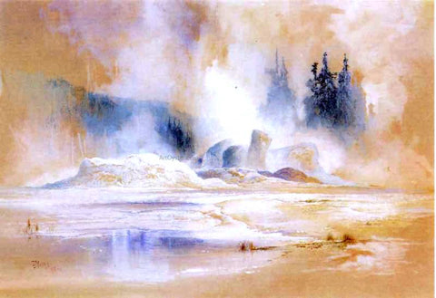 Thomas Moran The Grotto Geyser, Fire Hole Basin - Hand Painted Oil Painting