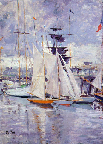 Paul Cesar Helleu The Harbor at Deauville - Hand Painted Oil Painting
