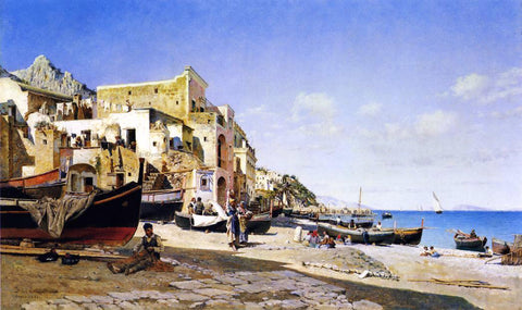 Federico Del Campo The Harbour, Capri - Hand Painted Oil Painting