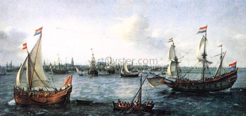 Hendrick Cornelisz Vroom The Harbour in Amsterdam - Hand Painted Oil Painting