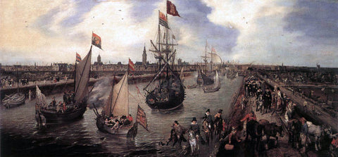 Adriaen Pietersz Van de Venne The Harbour of Middelburg - Hand Painted Oil Painting
