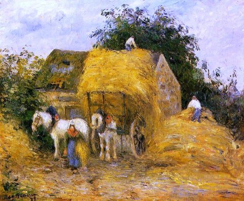 Camille Pissarro The Hay Wagon, Montfoucault - Hand Painted Oil Painting