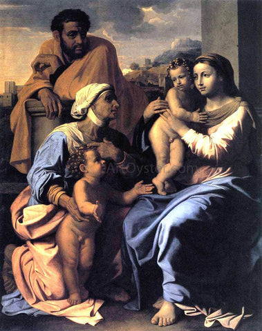 Nicolas Poussin The Holy Family with St Elizabeth and John the Baptist - Hand Painted Oil Painting