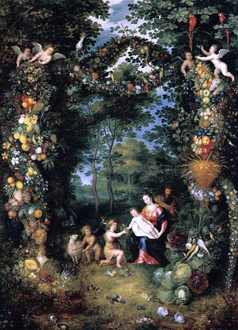 The Younger Jan Bruegel The Holy Family with St John - Hand Painted Oil Painting