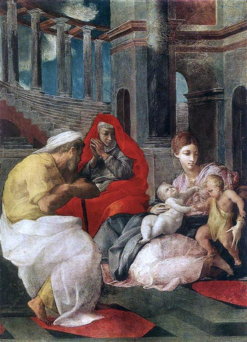 Francesco Primaticcio The Holy Family with Sts Elisabeth and John the Baptist - Hand Painted Oil Painting