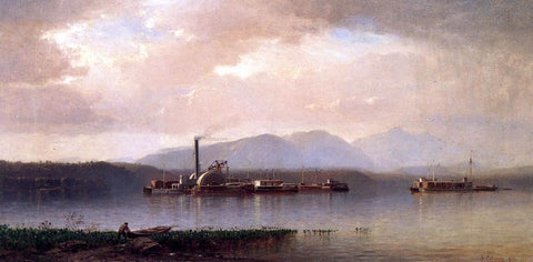 Jr. Samuel Colman The Hudson Highlands (also known as Hudson River Two and Barge) - Hand Painted Oil Painting