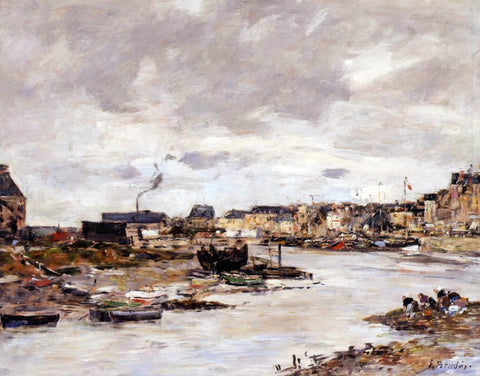 Eugene-Louis Boudin The Inner Port of Trouville at Low Tide - Hand Painted Oil Painting