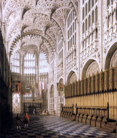 Canaletto The Interior of Henry VII's Chapel in Westminster Abbey - Hand Painted Oil Painting