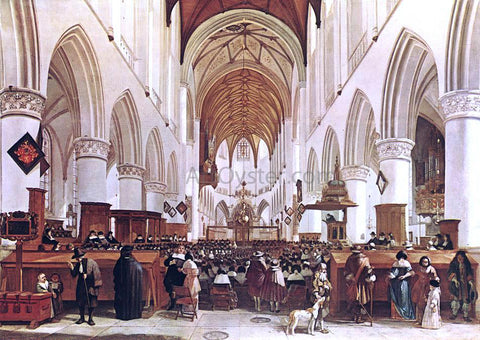 Gerrit Adriaensz Berckheyde The Interior of the Grote Kerk (St Bavo) at Haarlem - Hand Painted Oil Painting