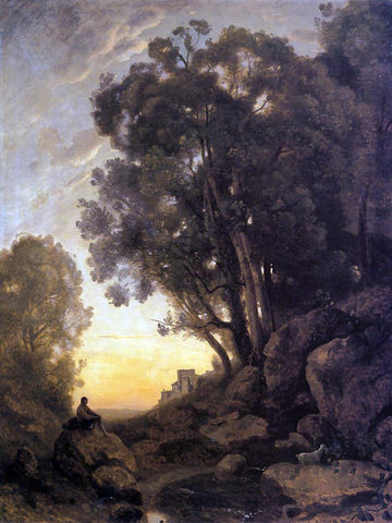 Jean-Baptiste-Camille Corot The Italian Goatherd, Evening - Hand Painted Oil Painting