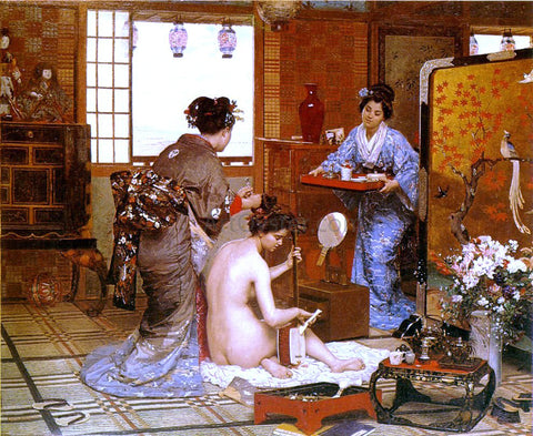 Marie-Francois Firmin-Girard The Japanese Toilette - Hand Painted Oil Painting