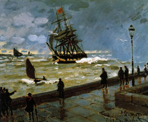 Claude Oscar Monet The Jetty of Le Havre in Rough Weather - Hand Painted Oil Painting
