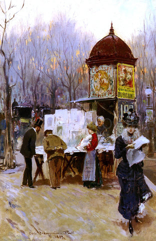 Carlo Brancaccio The Kiosk, Paris - Hand Painted Oil Painting