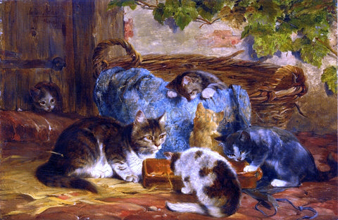 Julius Adam The Kittens' Supper - Hand Painted Oil Painting