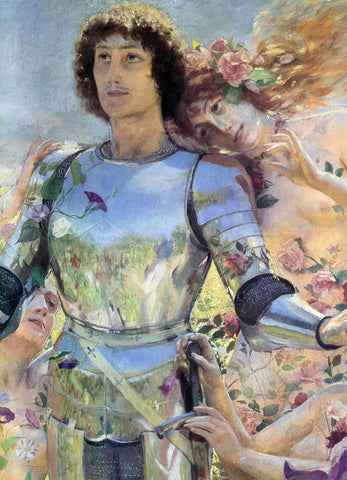 Georges Antoine Rochegrosse The Knight of the Flowers [detail: left] - Hand Painted Oil Painting