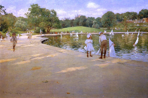 William Merritt Chase The Lake for Miniature Yachts (also known as Central Park) - Hand Painted Oil Painting