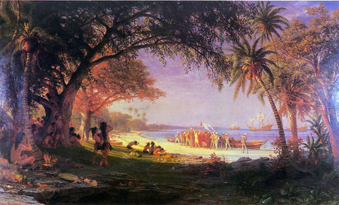 Albert Bierstadt The Landing of Columbus - Hand Painted Oil Painting
