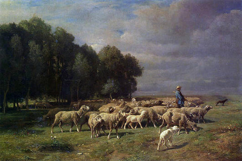 Charles Emile Jacque The Large Flock - Hand Painted Oil Painting