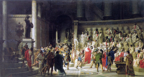 Raffaele Giannetti The Last Senate of Julius Caesar - Hand Painted Oil Painting